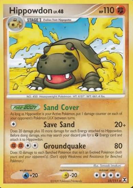 Pokemon Platinum Rising Rivals Rare Hippowdon #25