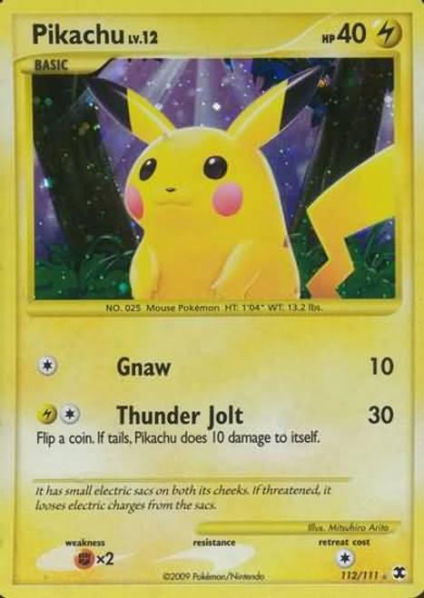 Pokemon Platinum Rising Rivals Rare Holo Pikachu #112