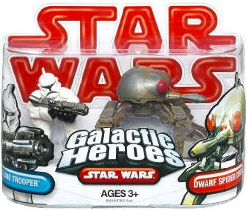 Star Wars Attack of the Clones Galactic Heroes 2009 Clone Trooper & Dwarf Spider Droid Mini Figure 2-Pack