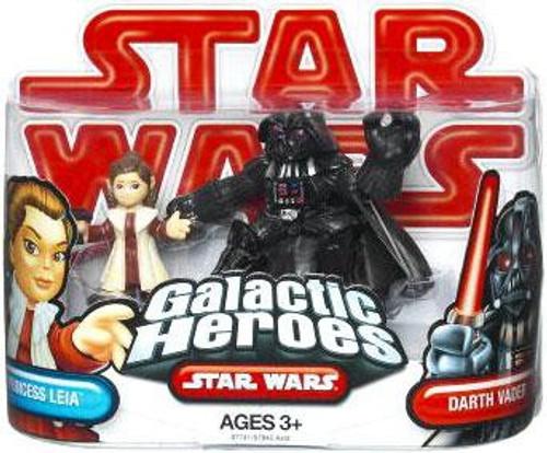 Star Wars Empire Strikes Back Galactic Heroes 2009 Princess Leia & Darth Vader Mini Figure 2-Pack