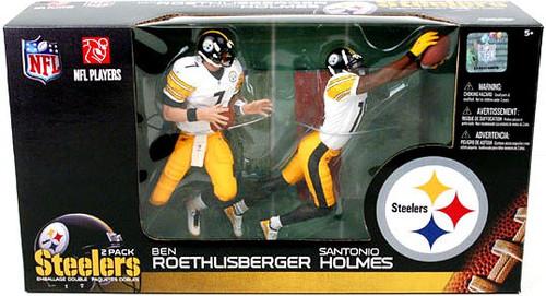McFarlane Toys NFL Pittsburgh Steelers Sports Picks Ben Roethlisberger & Santonio Holmes Action Figure 2-Pack