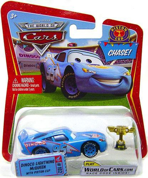 Disney / Pixar Cars The World of Cars Series 1 Dinoco Lightning McQueen with Piston Cup Trophy Diecast Car