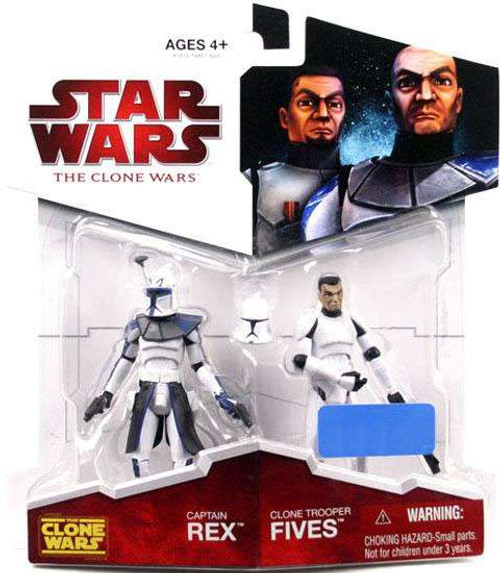 Star Wars The Clone Wars 2009 Captain Rex & Clone Trooper Fives Exclusive Action Figure 2-Pack