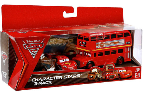 Disney / Pixar Cars Cars 2 Double Decker Bus, McQueen & Mater Character Stars Die Cast 3-Pack