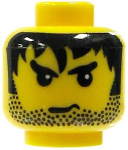 Shaggy Black Hair & Stubble Minifigure Head [Yellow Loose]