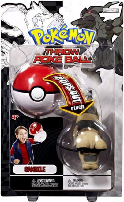 Pokemon Black & White B&W Series 2 Sandile Throw Poke Ball Plush