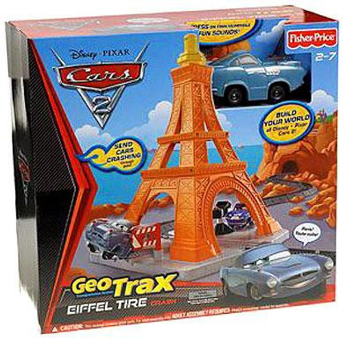 Fisher Price Disney / Pixar Cars Cars 2 GeoTrax Eiffel Tire Crash GeoTrax Playset
