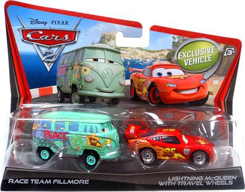Disney / Pixar Cars Cars 2 Race Team Fillmore & Lightning McQueen with Travel Wheels Diecast Car 2-Pack
