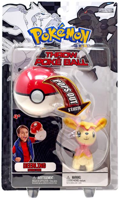 Pokemon Black & White B&W Series 3 Pink Deerling Throw Poke Ball Plush