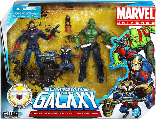 Marvel Universe Super Hero Team Packs Guardians of the Galaxy Action Figure 3-Pack [Starlord, Rocket Raccoon & Drax with Groot]