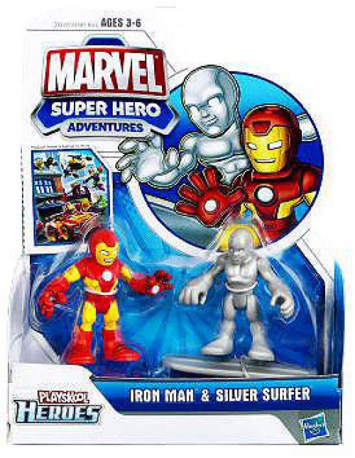 Marvel Playskool Heroes Super Hero Adventures Iron Man & Silver Surfer Action Figure 2-Pack