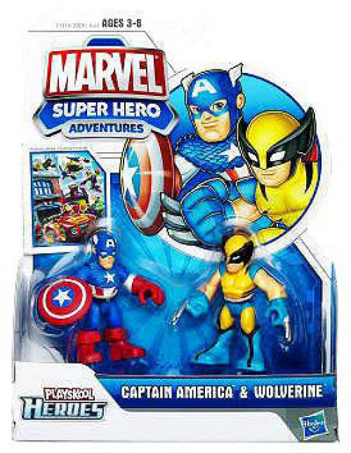 Marvel Playskool Heroes Super Hero Adventures Captain America & Wolverine Action Figure 2-Pack