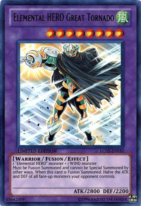 YuGiOh GX Trading Card Game Legendary Collection 2 Ultra Rare Elemental HERO Great Tornado LC02-EN010