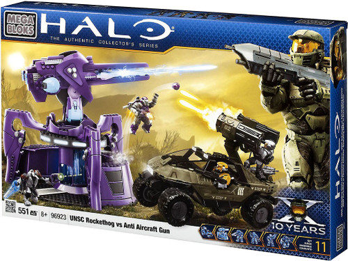 Mega Bloks Halo The Authentic Collector's Series UNSC Rockethog vs. Anti Aircraft Gun Set #96923