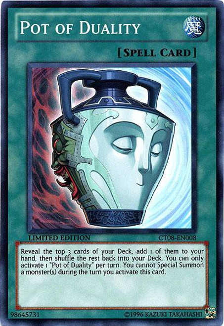 YuGiOh Trading Card Game Holiday Tin Promo Super Rare Pot of Duality CT08-EN008