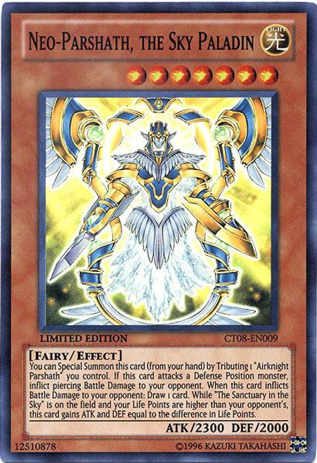 YuGiOh Trading Card Game Holiday Tin Promo Super Rare Neo-Parshath, the Sky Paladin CT08-EN009