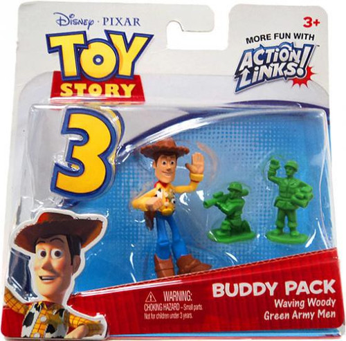 Toy Story 3 Action Links Buddy Pack Waving Woody & Green Army Men Mini Figure 2-Pack