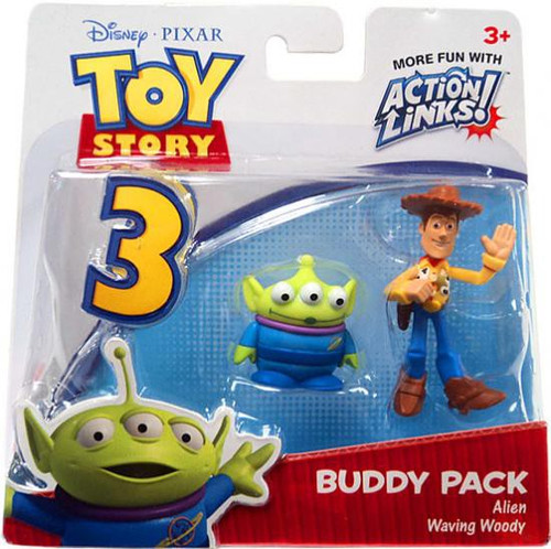 Toy Story 3 Action Links Buddy Pack Alien & Waving Woody Mini Figure 2-Pack