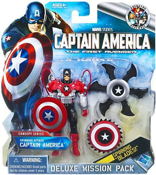 The First Avenger Deluxe Mission Pack Concept Series Spinning Attack Captain America Action Figure