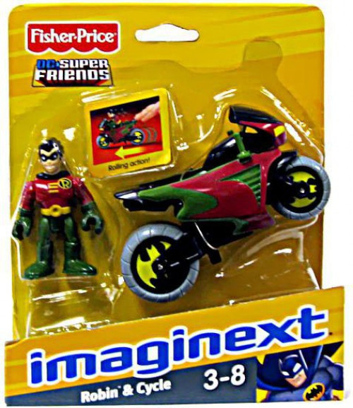 Fisher Price DC Super Friends Imaginext Robin & Cycle 3-Inch Figure Set