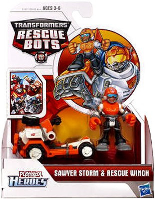 Transformers Playskool Heroes Rescue Bots Sawyer Storm & Rescue Winch Action Figure Set