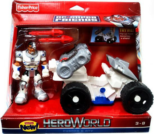 Fisher Price DC Super Friends Hero World Cyborg & ATV Action Figure Set