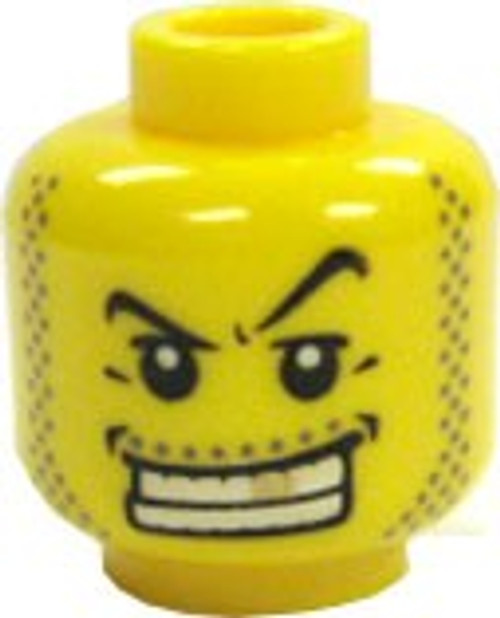 Gold Tooth Grin Minifigure Head [Yellow Loose]