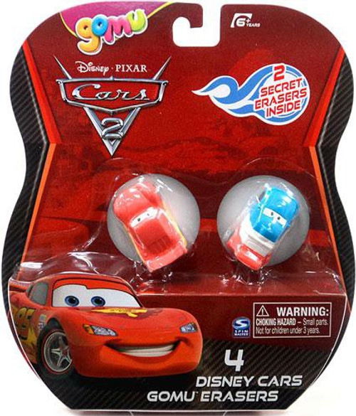 Disney / Pixar Cars Cars 2 Gomu Lightning McQueen & Raoul Caroule Gomu Erasers 4-Pack