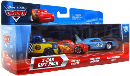 Disney / Pixar Cars Multi-Packs Dexter Hoover, Lightning McQueen & Race Damaged King Diecast Car 3-Car Gift Pack