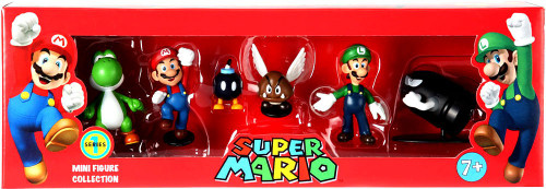 Super Mario Mini Figure Collection Series 1 Yoshi, Mario, Bob-omb, Paragoomba, Luigi & Bullet Bill Mini Figure Collection 6-Pack