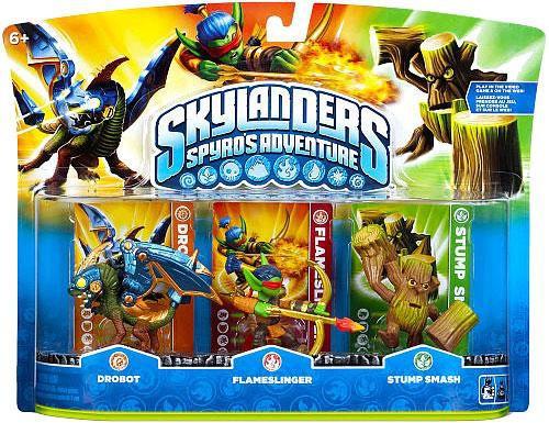 Skylanders Spyro's Adventure Drobot, Flameslinger & Stump Smash Figure 3-Pack