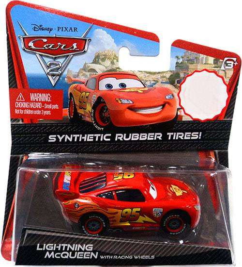 Disney / Pixar Cars Cars 2 Synthetic Rubber Tires Lightning McQueen Exclusive Diecast Car