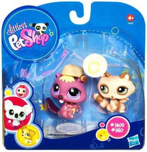 Littlest Pet Shop 2010 Assortment A Series 2 Beaver & Raccoon Figure 2-Pack #1409, 1410