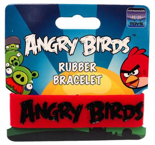 Angry Birds Black on Red Rubber Bracelet