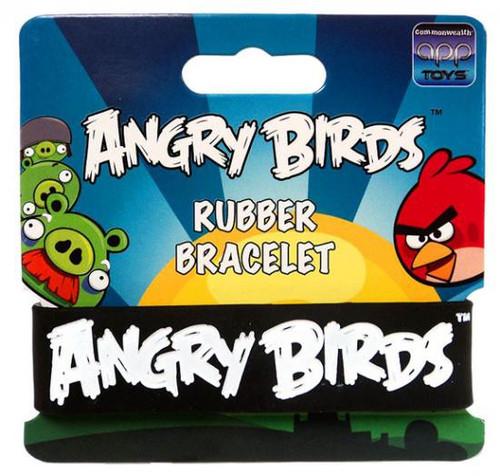 Angry Birds White on Black Rubber Bracelet