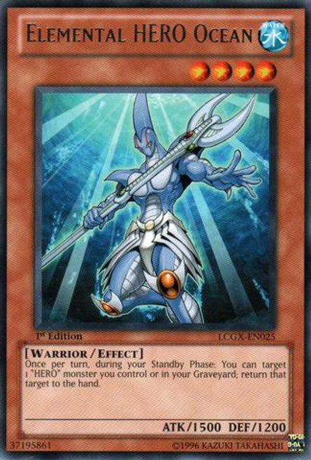 YuGiOh GX Trading Card Game Legendary Collection 2 Rare Elemental HERO Ocean LCGX-EN025