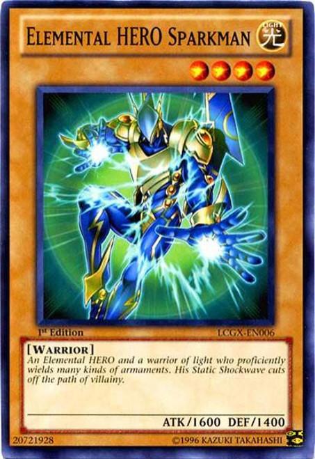 YuGiOh GX Trading Card Game Legendary Collection 2 Common Elemental HERO Sparkman LCGX-EN006