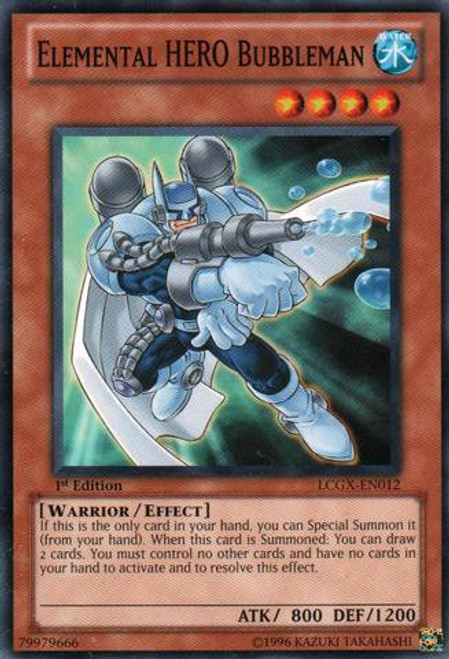 YuGiOh GX Trading Card Game Legendary Collection 2 Common Elemental HERO Bubbleman LCGX-EN012