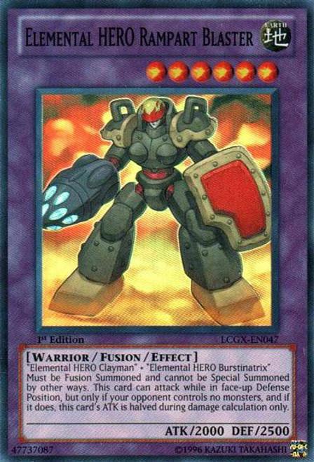 YuGiOh GX Trading Card Game Legendary Collection 2 Super Rare Elemental HERO Rampart Blaster LCGX-EN047