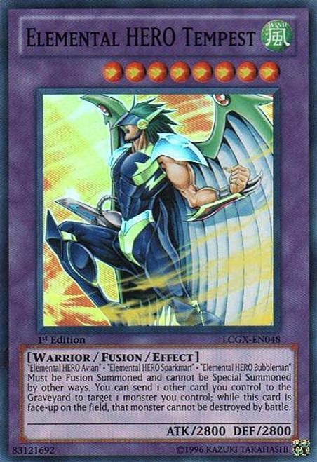 YuGiOh GX Trading Card Game Legendary Collection 2 Super Rare Elemental HERO Tempest LCGX-EN048
