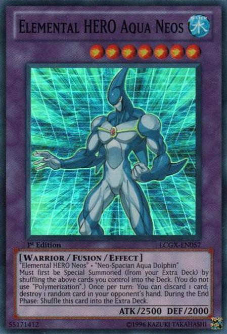 YuGiOh GX Trading Card Game Legendary Collection 2 Super Rare Elemental HERO Aqua Neos LCGX-EN057