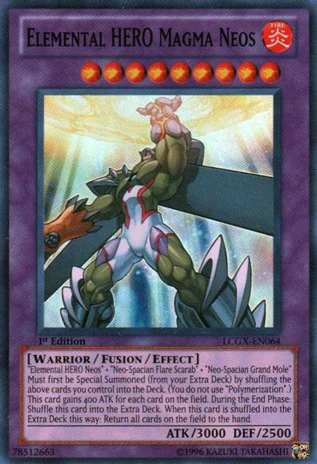 YuGiOh GX Trading Card Game Legendary Collection 2 Super Rare Elemental HERO Magma Neos LCGX-EN064