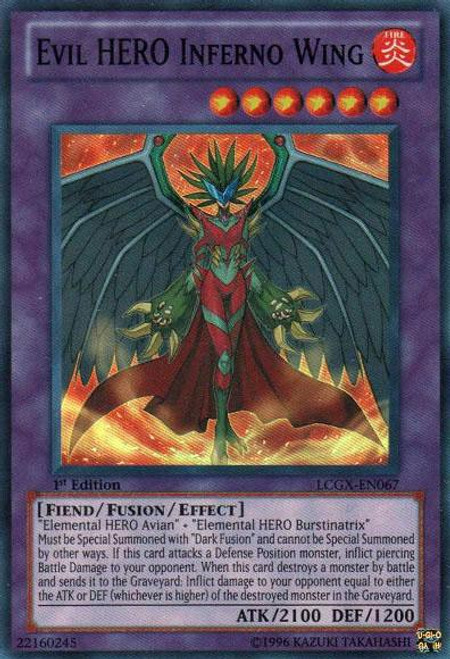 YuGiOh GX Trading Card Game Legendary Collection 2 Super Rare Evil HERO Inferno Wing LCGX-EN067