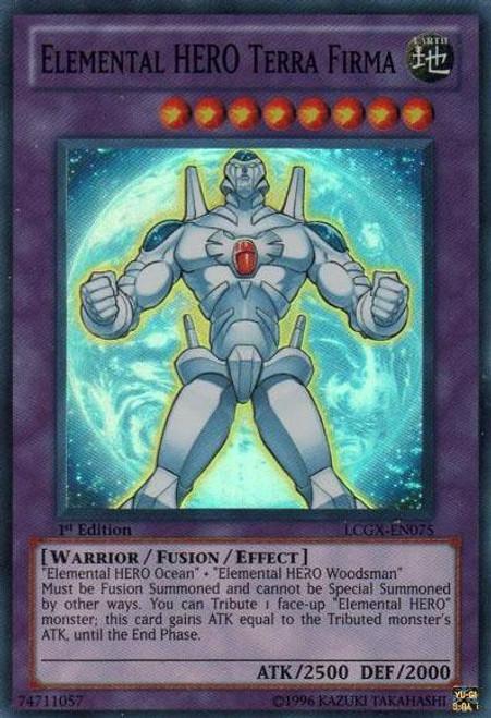 YuGiOh GX Legendary Collection 2 Super Rare Elemental HERO Terra Firma LCGX-EN075