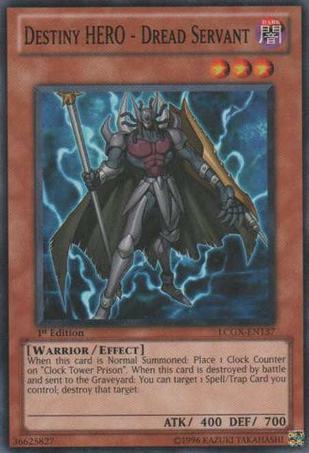 YuGiOh GX Trading Card Game Legendary Collection 2 Common Destiny HERO - Dread Servant LCGX-EN137