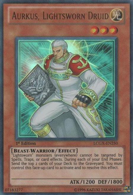 YuGiOh GX Trading Card Game Legendary Collection 2 Ultra Rare Aurkus, Lightsworn Druid LCGX-EN250