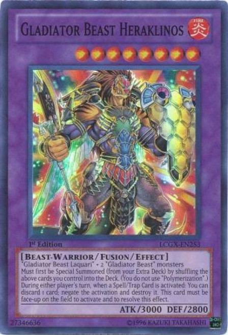 YuGiOh GX Trading Card Game Legendary Collection 2 Super Rare Gladiator Beast Heraklinos LCGX-EN253