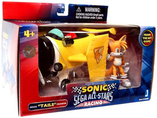 """Sonic The Hedgehog Sega All-Stars Racing Miles """"Tails"""" Prower with Plane 3.5-Inch Figure Vehicle"""