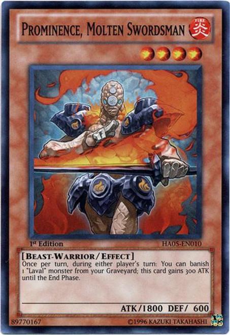 YuGiOh YuGiOh 5D's Hidden Arsenal 5: Steelswarm Invasion Super Rare Prominence, Molten Swordsman HA05-EN010