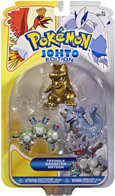 Pokemon Johto Edition Series 16 Gold Totodile, Magneton & Rhydon Figure 3-Pack